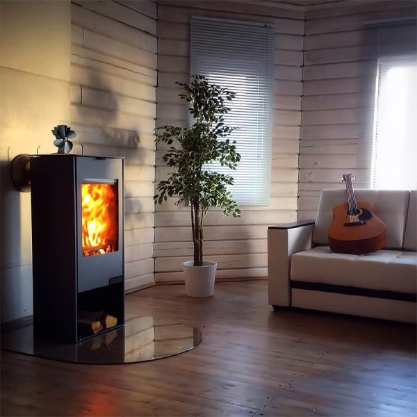 UK Stove Fans 334 heat powered stove fan sitting on top of wood burning stove