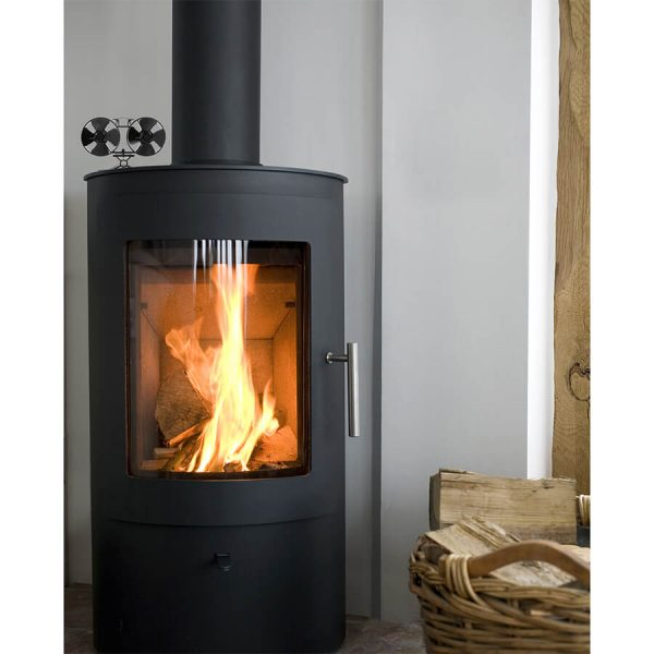 UK Stove Fans T84 heat powered stove fan sitting on top of stove
