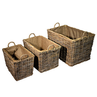 UK Stove Fans nest of 3 lined log storage baskets