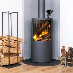 UK Stove Fans 112 heat powered stove fan sitting on wood burning stove