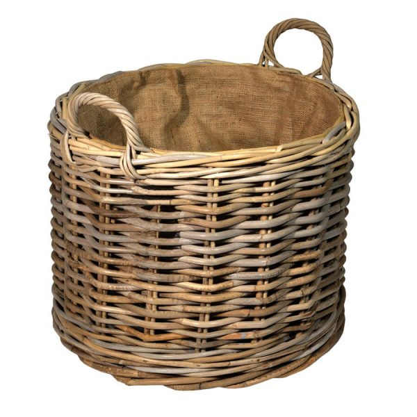 UK Stove Fans wheeled round large storage wood log basket