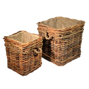 UK Stove Fans wood log storage baskets pair