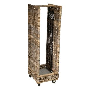 UK Stove Fans tall standing wheeled log wood storage basket unit