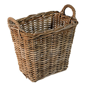UK Stove Fans rectangle log wood storage basket